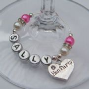 Hen Party Personalised Wine Glass Charm - Elegance Style